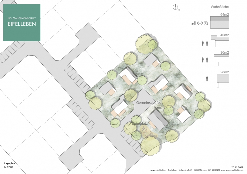 Lageplan der Tiny House Siedlung, Holzbaugemeinschaft Eifelleben