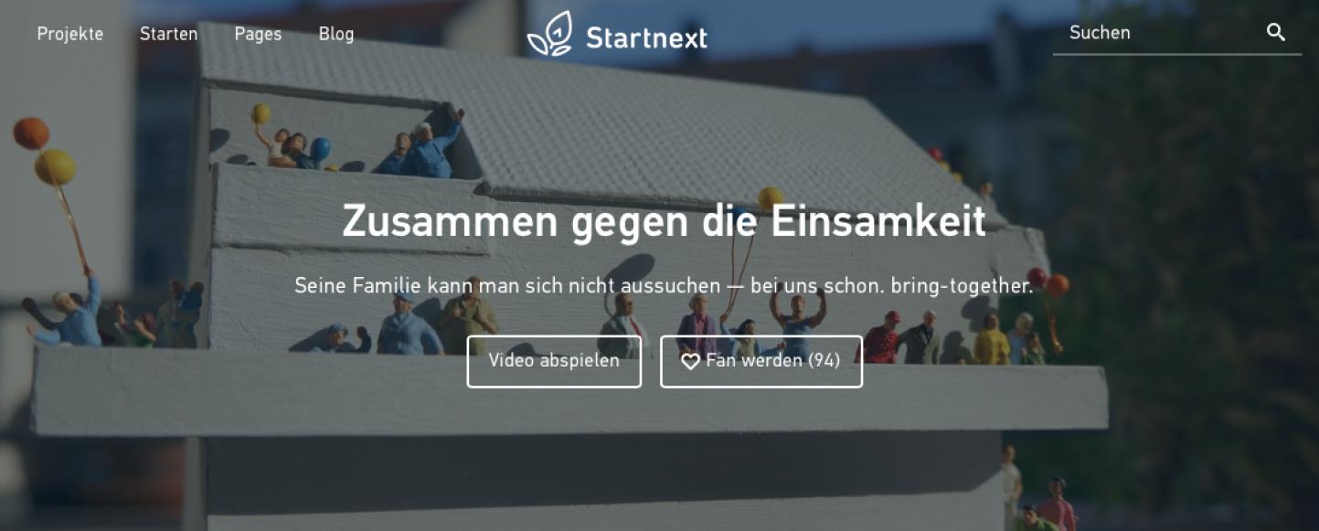 Crowdfunding Kampagne bei Startnext: Zusammen gegen die Einsamkeit