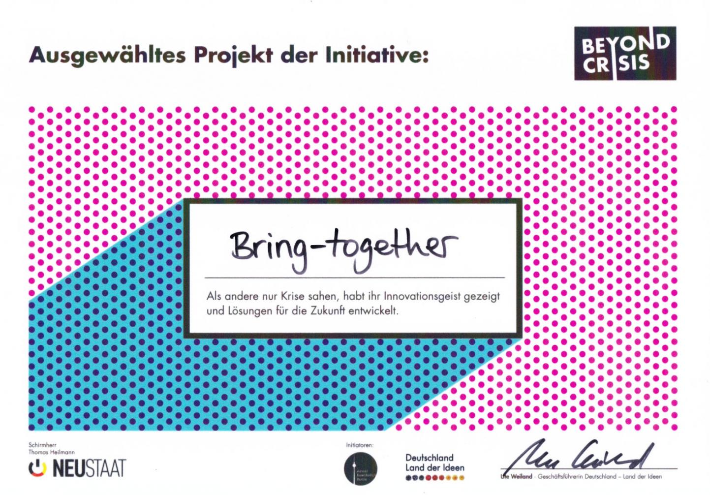 Urkunde für bring-together als ausgewähltes Projekt der Initiative Beyond Crisis – Zeit für neue Lösungen