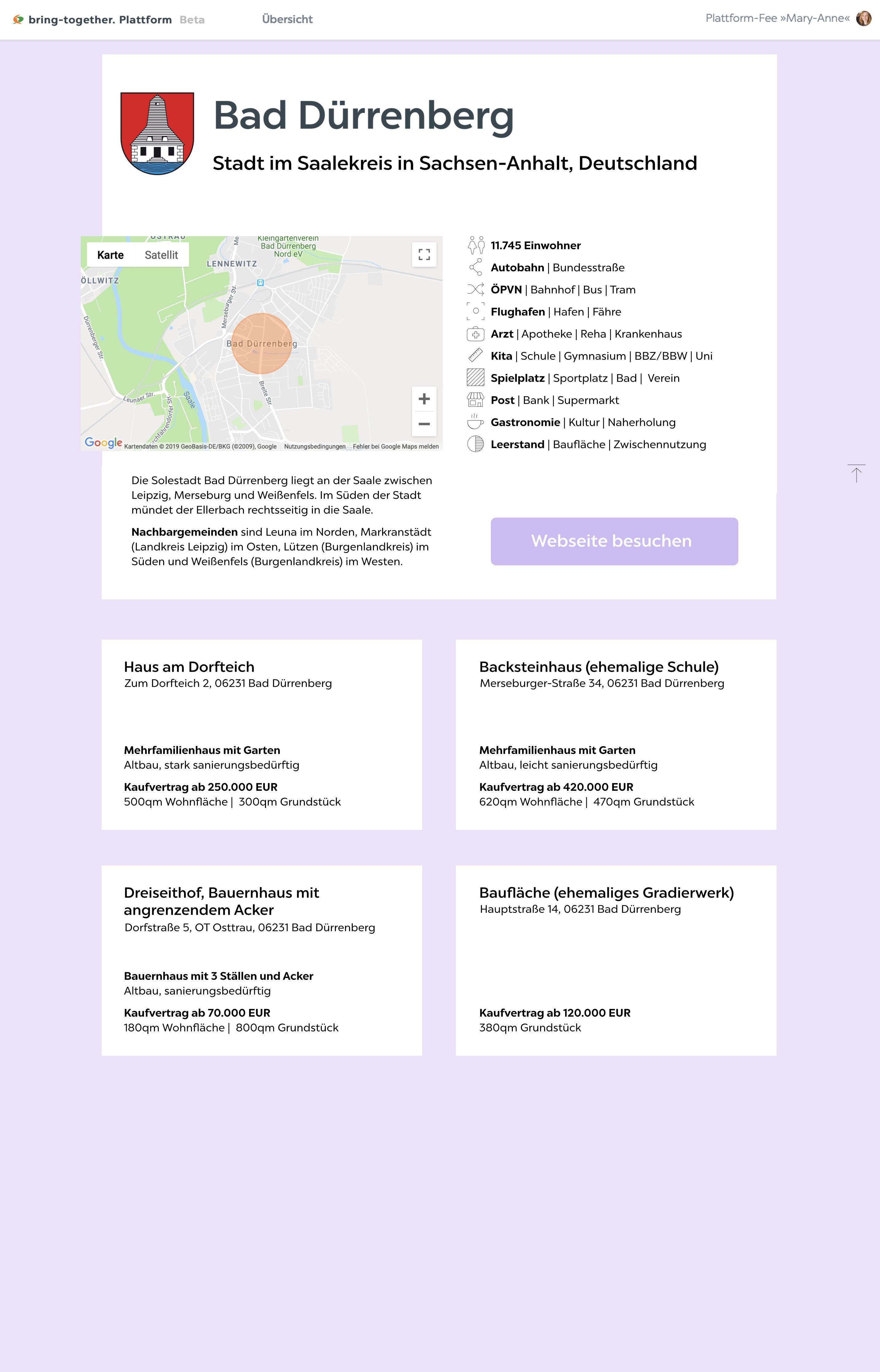 Stadt-Profil für Baugrundstücke, Leerstände, Gebäude und kommunale Immobilien